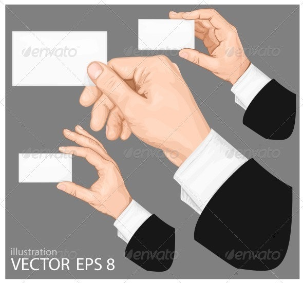 Hands Holding Blank Business Card - Concepts Business