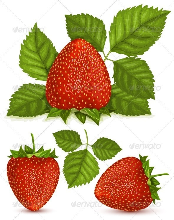 Strawberries with Leaves - Food Objects
