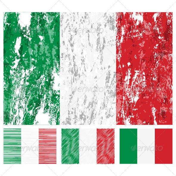 Italy grunge flag set