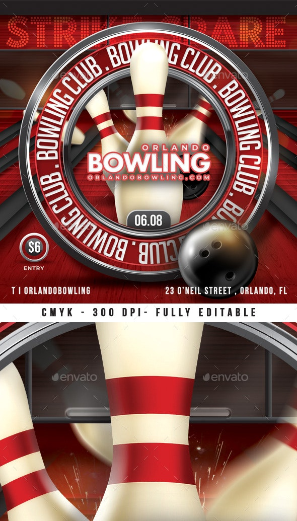 Bowling Night Sport Flyer - Events Flyers