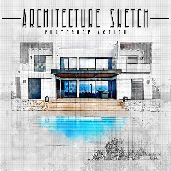 Architecture Sketch - Watercolor Photoshop Action