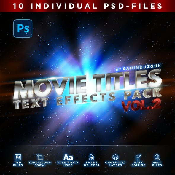 MOVIE TITLES - Vol.2 | Text-Effects/Mockups | Template-Pack