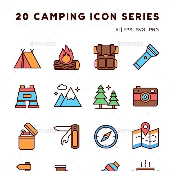 20 Camping Icon Series