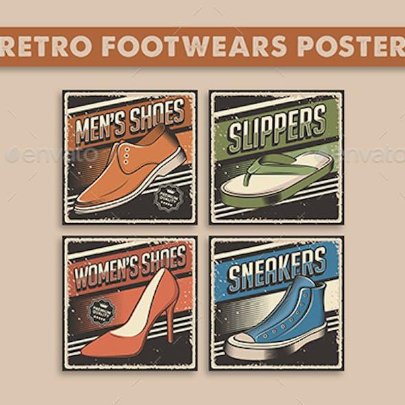Retro Rustic Footwears Poster 4 Variations