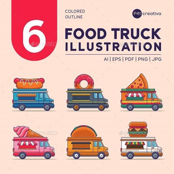 6 Food Truck Line Color Illustration