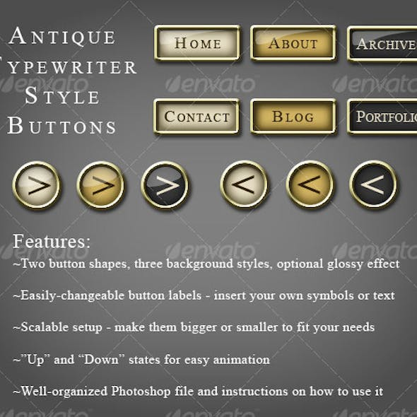 Antique Typewriter Style Buttons