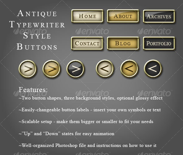 Antique Typewriter Style Buttons - Buttons Web Elements