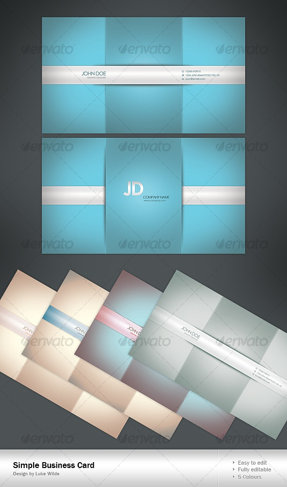 Simple Business Card - 5 Colour - Corporate Business Cards