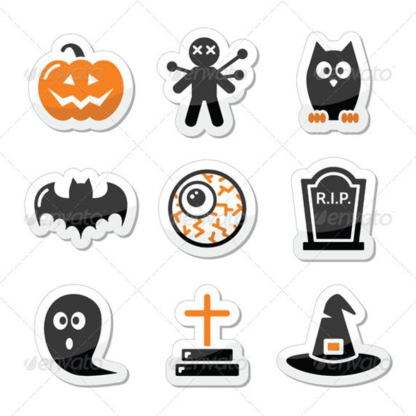 Halloween black icons set as labels