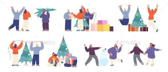 People Prepare to Holidays - People Characters