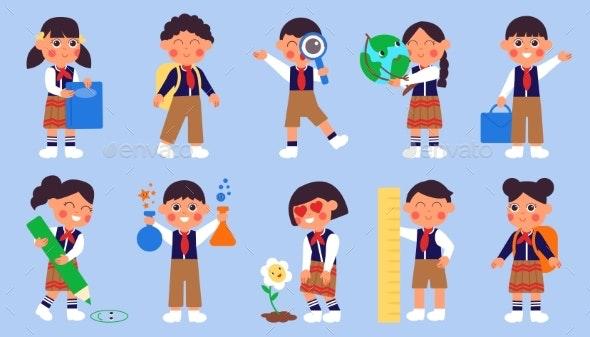 Children Go to School - People Characters