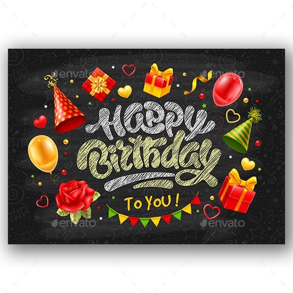 Happy Birthday Card With Chalk Lettering - Birthdays Seasons/Holidays