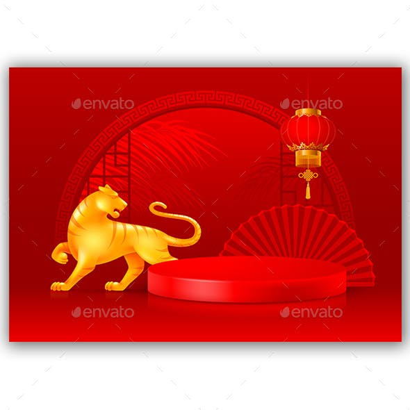Asian Style Background With Podium And Tiger