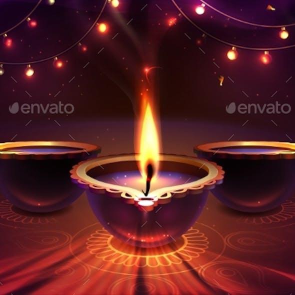 Diwali Festiva Background with Realistic Diya