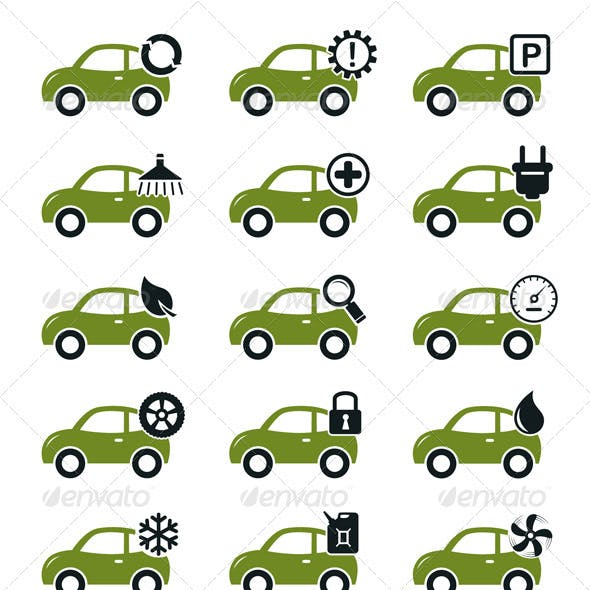 Car Mechanic Service And Repair Icons