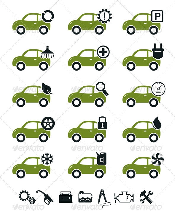 Car Mechanic Service And Repair Icons - Industries Business