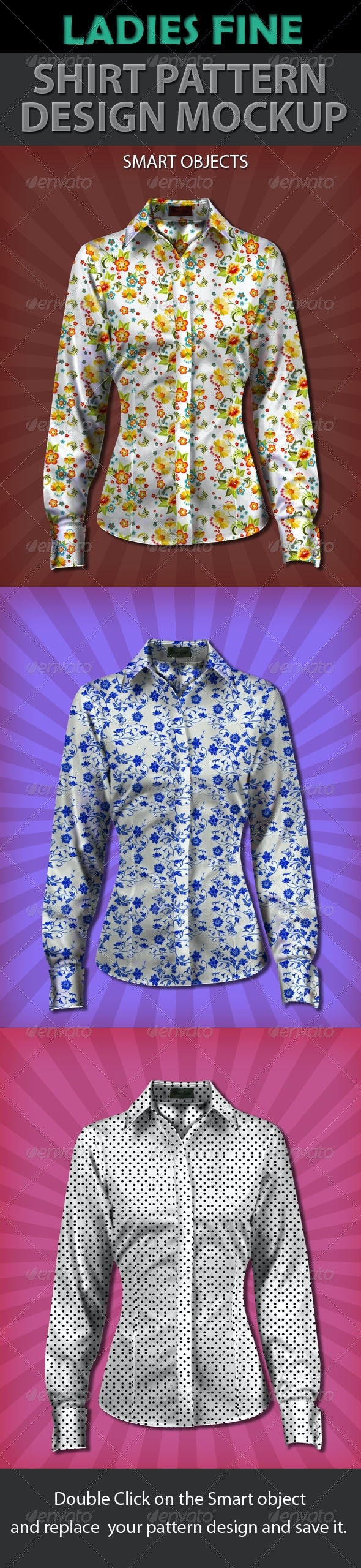 Ladies Fine Shirt Pattern Design Mockup - T-shirts Apparel
