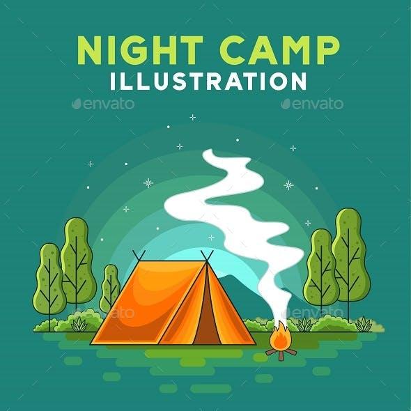 Night Camp Illustration