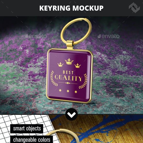 Square Keyring Mockup