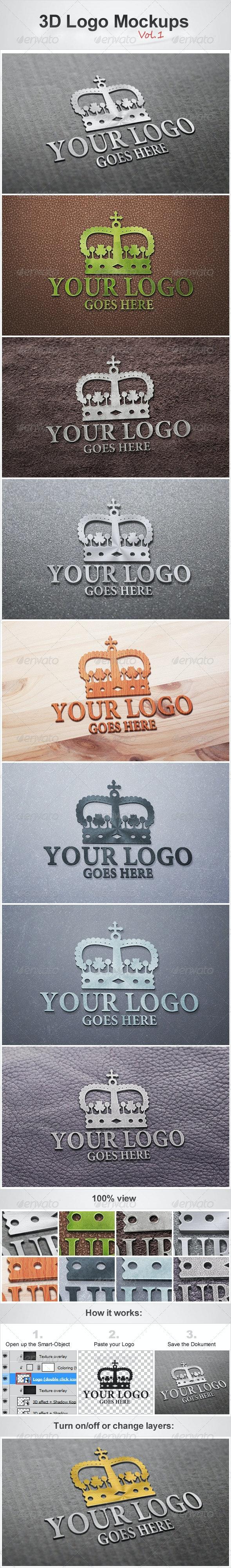 3D Logo Mockups Vol.1 - Logo Product Mock-Ups