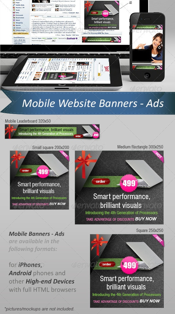 Mobile Website Ads - Banners  - Banners & Ads Web Elements