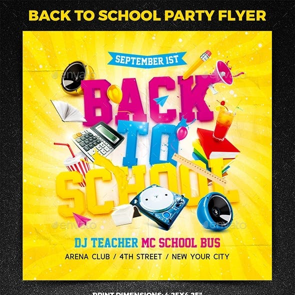 Back to School Party Square Flyer vol.1