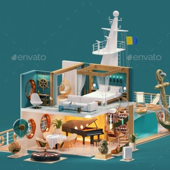 Cruise Ship Crosssection Illustration