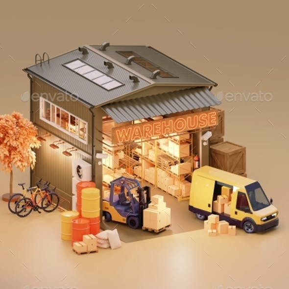 Warehouse Building with Interior and Forklift