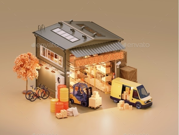 Warehouse Building with Interior and Forklift - Miscellaneous 3D Renders