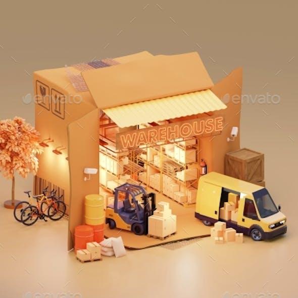 Warehouse in Cardboard Box