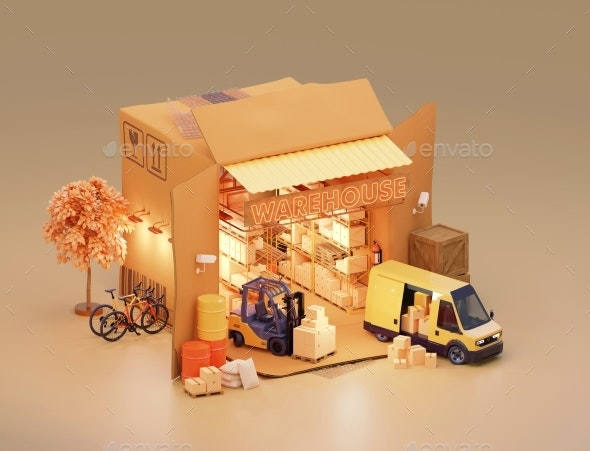Warehouse in Cardboard Box - Miscellaneous 3D Renders