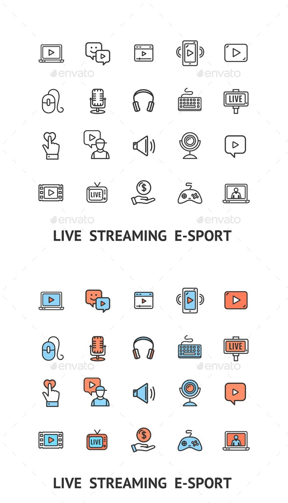 Live Streaming Sign Color Thin Line Icon Set. Vector - Web Icons