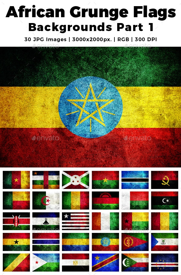 African Grunge Flags Backgrounds Part 1 - Miscellaneous Backgrounds