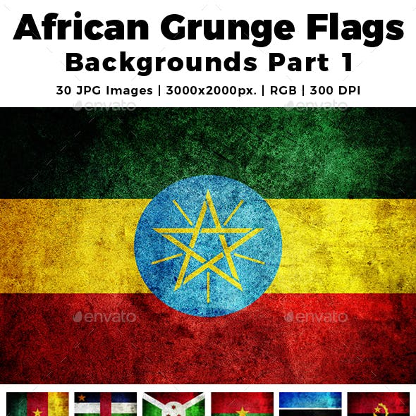 African Grunge Flags Backgrounds Part 1