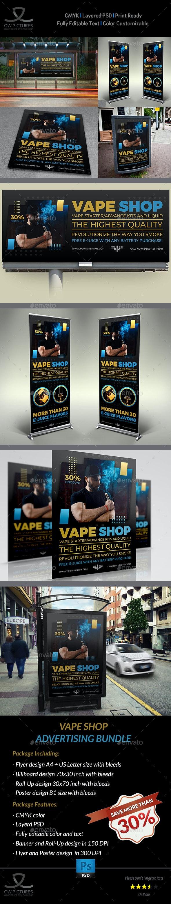 Vape Shop Advertising Bundle - Signage Print Templates