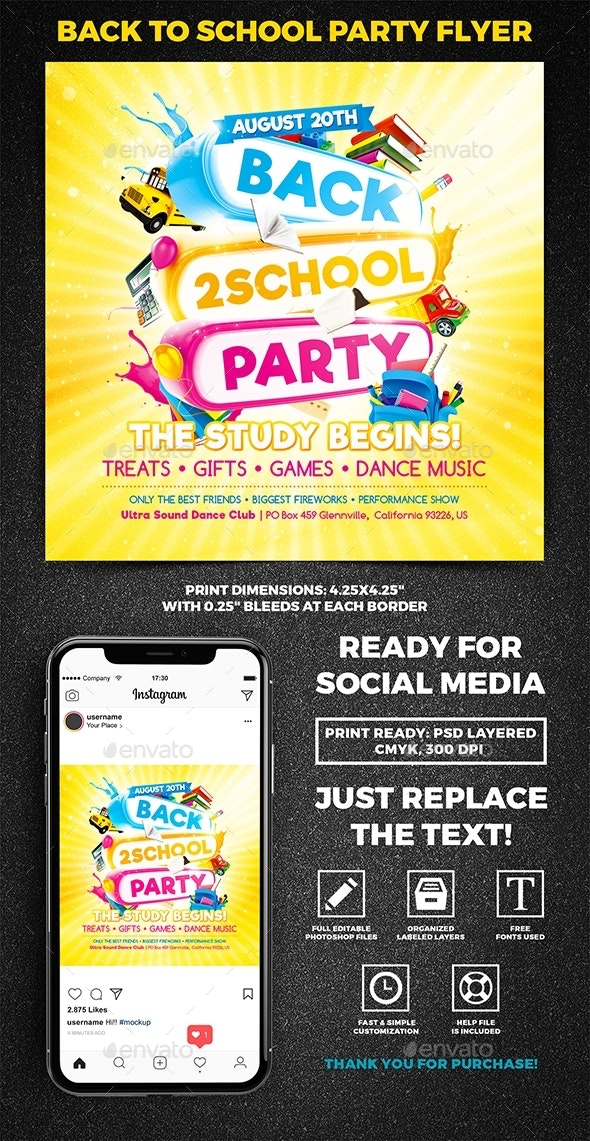 Back to School Party Square Flyer vol.2 - Miscellaneous Events