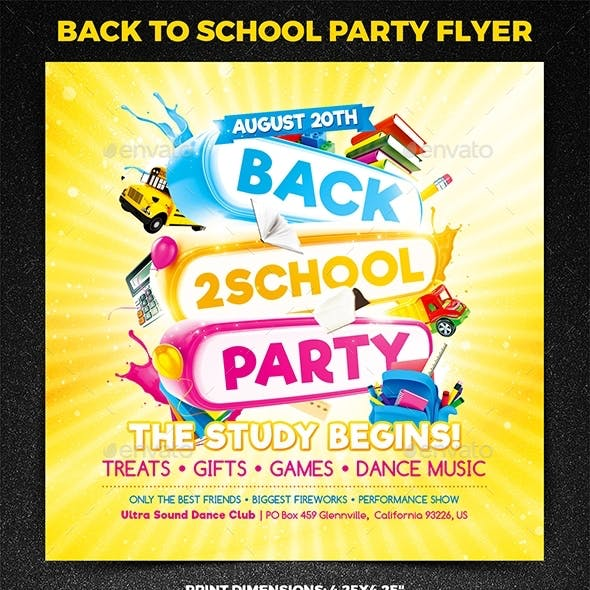 Back to School Party Square Flyer vol.2