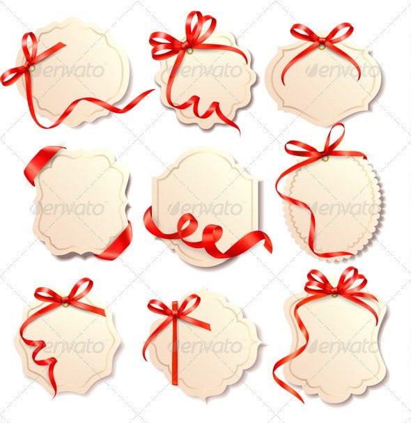 Set of Beautiful Cards with Eed Gift Bows  - Christmas Seasons/Holidays