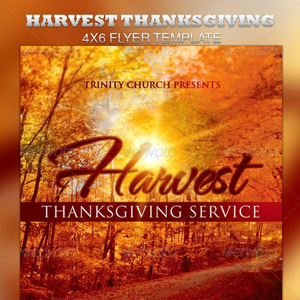 Harvest Thanksgiving Service Flyer Template