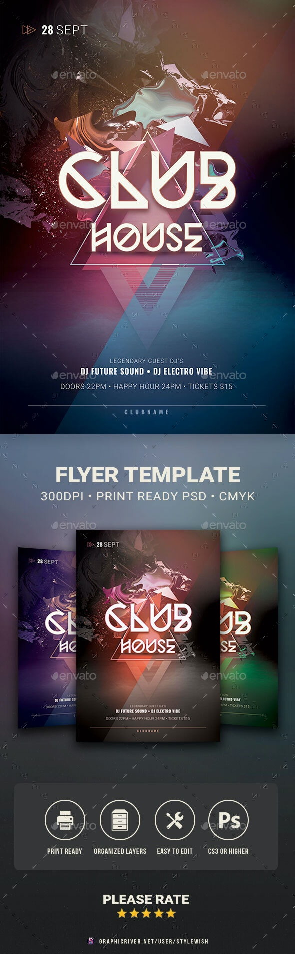 Club House Flyer - Clubs & Parties Events