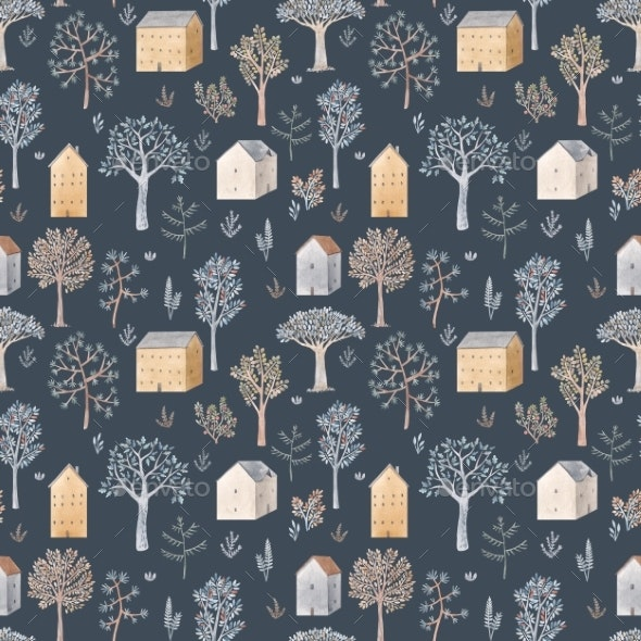 Winter Seamless Pattern with Hand Drawn - Miscellaneous Illustrations