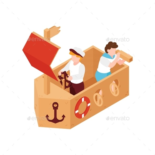 Cardboard Ship Icon - People Characters