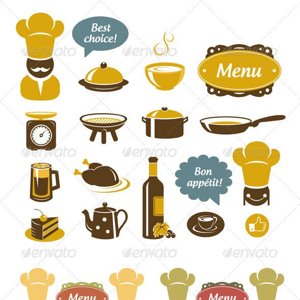 Kitchen And Restaurant Icons Set