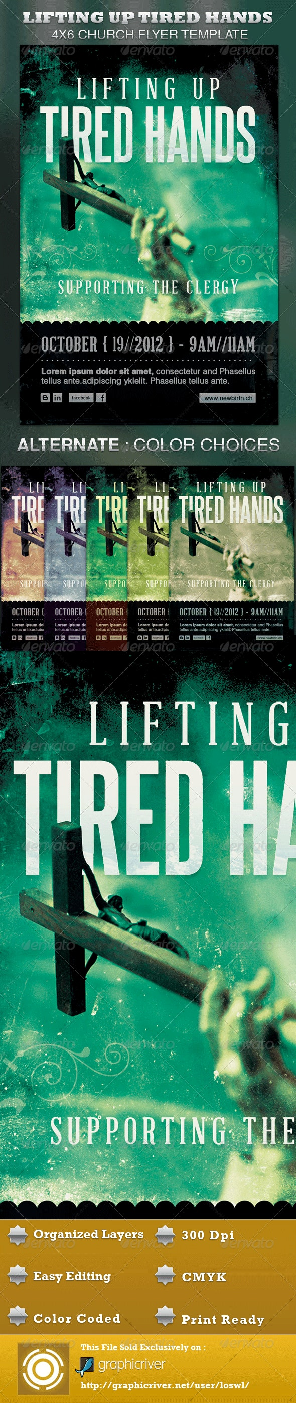 Lifting up Tired Hands Church Flyer Template - Church Flyers