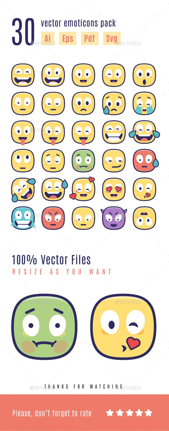 30 Emoticons Vector Pack - Miscellaneous Characters