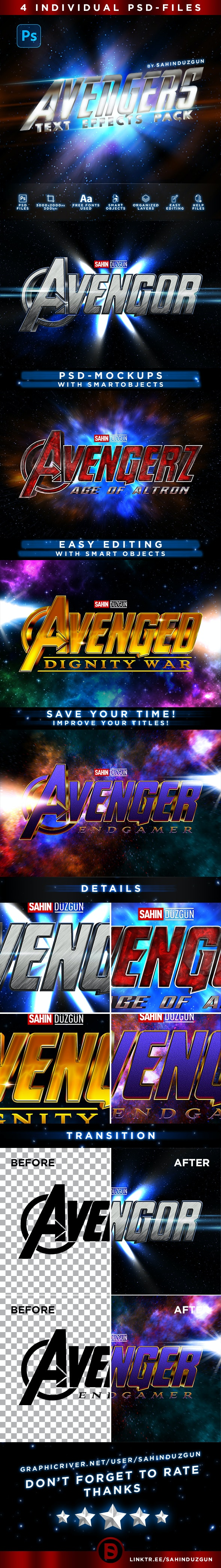 AVENGERS | Text-Effects/Mockups | Template-Package - Text Effects Actions