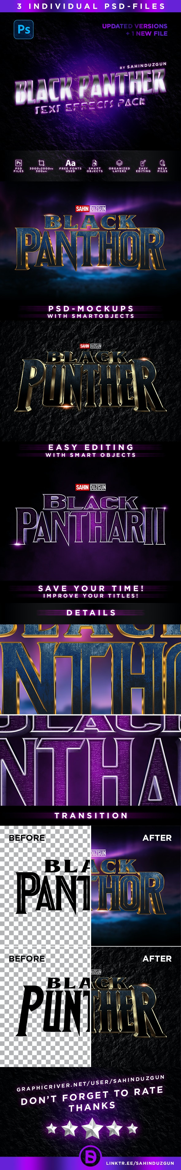 Black Panther   Text-Effects/Mockups   Template-Package - Text Effects Actions
