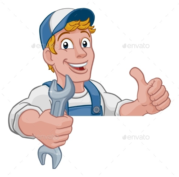 Mechanic Plumber Wrench Spanner Cartoon Handyman - Characters Illustrations