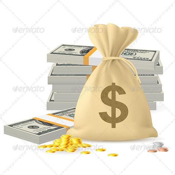 Piles of money - Objects Vectors