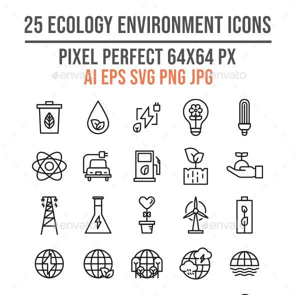 25 Ecology Environment Line Icon Set